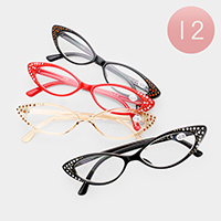 12PCS - Crystal Embellished Retro Cat Eye Reading Glasses