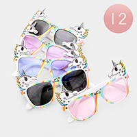 12PCS - Unicorn Detail Kids Sunglasses