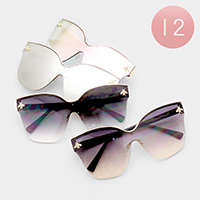 12PCS - Oversized Honey Bee Detail Square Lens Sunglasses