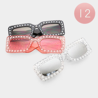 12PCS - Faux Pearl Embellished Rectangle Frame Sunglasses