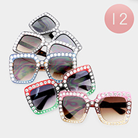 12PCS - Oversized Crystal Embellished Color Block Sunglasses