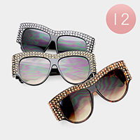 12PCS - Oversized Crystal Embellished Sunglasses