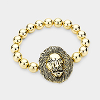 Lion Accented Metal Ball Stretch Bracelet