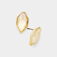 Mother of Pearl Hexagon Stud Earrings