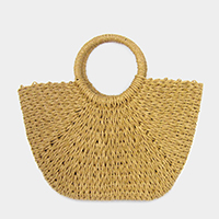 Soft Straw Round Handle Tote Bag
