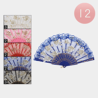 12PCS - Golden Flower Printed Folding Fans