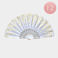 12PCS - Golden Pattern Printed Folding Fans