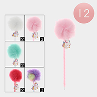 12PCS - Unicorn Pom Pom Ball Pens