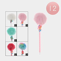 12PCS - Mermiad Pom Pom Ball Pens