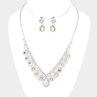 Bubble Crystal Cluster Teardrop Centered Necklace