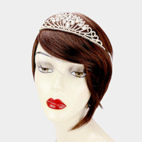 Rhinestone Pave Oval Crystal Accented Princess Tiara
