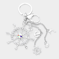 Crystal Ship Wheel Accented Key Chain