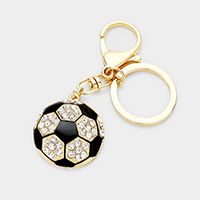 Crystal Soccer Key Chain