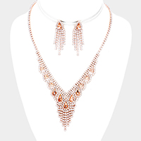 Draped Rhinestone Pave Fringe Teardrop Accented Necklace