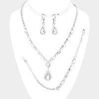 3PCS Marquise Crystal Teardrop Cluster Necklace Jewelry Set