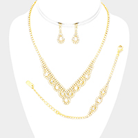 3PCS - Rhinestone Pave Pearl Detail Necklace Jewelry Set