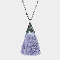 Beaded Metal Triangle Tassel Pendant Long Necklace