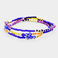 Multi Beaded Evil Eye Detail Wrap Stretch Bracelet