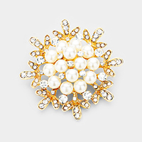 Crystal Pearl Cluster Accented Pin Brooch