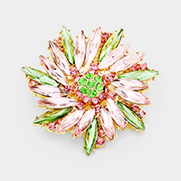 Qblique Crystal Oval Flower Pin Brooch