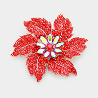 Crystal Pave Flower Pin Brooch