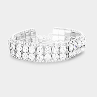 Rhinestone Pave Crystal Bubble Detail Evening Bracelet