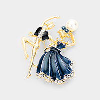 Latin Dancing Couple Pearl Accented Pin Brooch