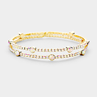 2Row Split Layer Round Crystal Detail Cuff Evening Bracelet