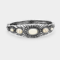 Antique Tribal Oval Howlite Accented Hinged Bracelet