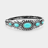 Antique Tribal Oval Turquoise Accented Hinged Bracelet