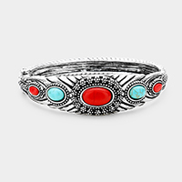 Antique Tribal Oval Turquoise Red Coral Accented Hinged Bracelet