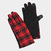 Two Tone Tweed Touch Gloves