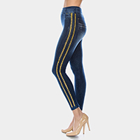 Comfy Stone Embellished Lines Detail Jeggings