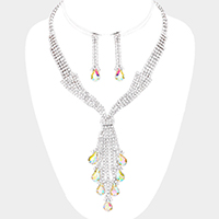 Crystal Pave Fringe Teardrop Accented Bib Necklace