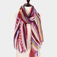 Abstract Stripe Print Scarf