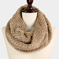 Textured Faux Fur Tube Infinity Scarf