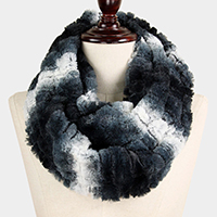 Ombre Texture Faux Fur Infinity Scarf