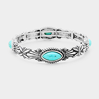 Antique Tribal Oval Turquoise Accented Stretch Bracelet