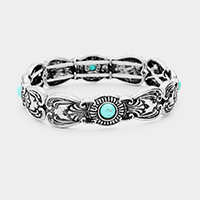 Antique Tribal Turquoise Accented Stretch Bracelet