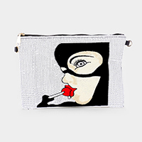 Sequin Pop Art Woman Crossbody Clutch Bag