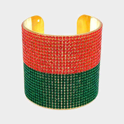 Two Tone Crystal Pave Color Block Cuff Bracelet