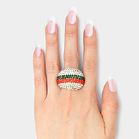 Wide Crystal Pave Color Block Dome Stretch Ring