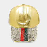 Crystal Embellished Color Block Leather Baseball Cap