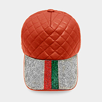 Crystal Color Block Stitch Square Leather Baseball Cap