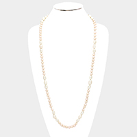 Beaded Triple Freshwater Pearl Station Long Necklace