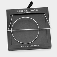 Secret Box _ White Gold Dipped Geo Hoop Pendant Necklace