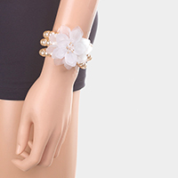 Pearl Triple Strand Flower Accented Stretch Bracelet