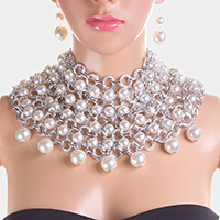 Multi Strand Chain Pearl Cluster Collar Bib Necklace