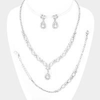 3PCS Crystal Flower Teardrop Pearl Detail Necklace Set