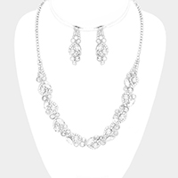 Pearl Detail Crystal Leaf Bib Necklace